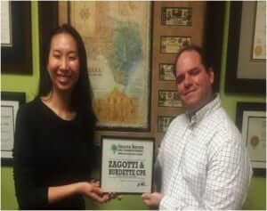Zagotti & Burdette CPA Receives the Certificate of Membership from The Greater Heights Area Chamber of Commerce.